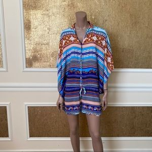 Oliveaceous colorful striped romper M